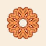 Vector circle seamless pattern. Abstract symmetrical decorative circular pattern, mandala, orange, brown, red vector illustration Royalty Free Stock Images