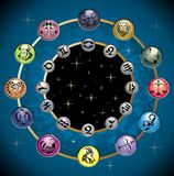 Vector circle with the signs and the constell. Zodiac  astrology horoscope sign wheel star Royalty Free Stock Photo