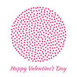 Vector Circle Sphere pink Hearts for Valentines Day card Background. Royalty Free Stock Image