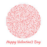Vector Circle Sphere red Hearts for Valentines Day card Background. Stock Image