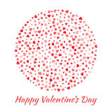 Vector Circle Sphere red Hearts for Valentines Day card Background. Stock Photography