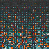 Vector Circle Square Cross Shapes Halftone Grid Pattern In Red Orange and Blue on Dark Background Stock Photo