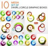 Vector circle swirl banners design collection Stock Photos