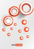 Vector circles abstract logo. Red and white Stock Images