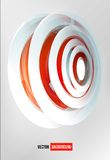 Vector circles abstract logo. Red and white Royalty Free Stock Photo