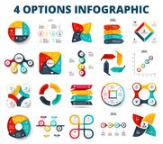 Vector circles, arrows, square for presentation. Abstract business infographic elements of cycle diagram with 4 steps. Options, parts or processes stock illustration