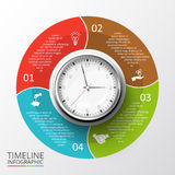 Vector circles elements for timeline infographic. Vector circles elements set with watch for timeline infographic. Template for diagram, graph, presentation and Royalty Free Stock Photo