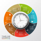 Vector circles elements for timeline infographic. Vector circles elements set with watch for timeline infographic. Template for diagram, graph, presentation and stock illustration