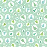 Vector circles with green, blue christmas trees in circles ornamemtns holiday seamless pattern. Great for fabric Stock Photography