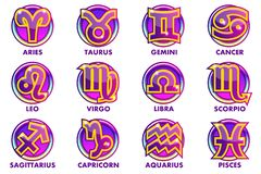 Vector circles purple astrology Signs, 12 Zodiac symbols. App icons for Ui. Game royalty free illustration