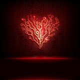 Vector circuit board background with heart.