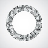 Vector circuit board circle, digital technologies abstraction. B. Lack and white computer microprocessor scheme, futuristic design vector illustration