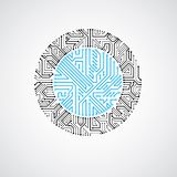 Vector circuit board circle, digital technologies abstraction. B. Lue computer microprocessor scheme, futuristic design royalty free illustration