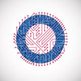 Vector circuit board circle, digital technologies abstraction. Blue and red computer microprocessor scheme. Vector circuit board circle, digital technologies royalty free illustration