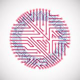 Vector circuit board circle, digital technologies abstraction. B. Lue and red computer microprocessor scheme, futuristic design vector illustration