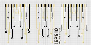 Vector circuit board elements on grid illustration. Vector circuit board elements on grid. Design elements for circuit board illustration royalty free illustration