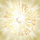Vector circuit board sun burst Stock Image
