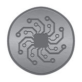 Abstract electronic icon or logo. Circuit board sun. Vector circuit board sun in round metal plate