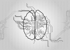 Vector circuit with brain technology background. Concept illust stock illustration