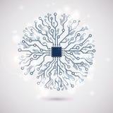 Vector circuit circle snowflake Stock Image