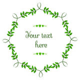Vector circular floral wreaths with green leafs and central white copyspace for your text Royalty Free Stock Photos