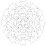 Vector circular pattern loving mandala with hearts black and white Stock Images