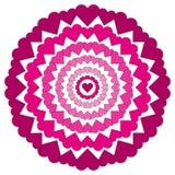 Vector circular pattern loving mandala with pink hearts colored Royalty Free Stock Images