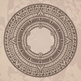 Vector circular pattern in the style of the Aztec. Calendar stone on a grunge background Stock Image