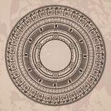 Vector circular pattern in the style of the Aztec. Calendar stone on a grunged background Royalty Free Stock Image