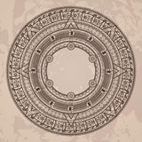 Vector circular pattern in the style of the Aztec calendar stone stock illustration
