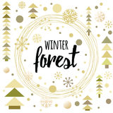 Vector circular wreath with text Winter Forest decorated christmas trees. Vector circular wreath with text Winter Forest decorated christmas trees, snow and Royalty Free Stock Photos