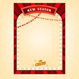 Vector Circus Poster. Vector vintage circus background in bright red, yelow and white colors with blank place. Editable retro illustration useful for a poster Royalty Free Stock Images