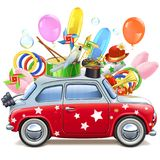 Vector Circus Red Car. Isolated on white background Royalty Free Stock Image
