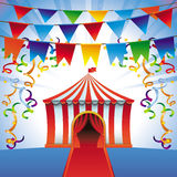 Vector circus tent - bright icon. Party and entertainment concept vector illustration