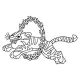 Vector Circus Tiger Jumping through Flaming Hoop. Vector black and white circus tiger performing. Vector circus tiger jumping through flaming hoop. Circus tiger Royalty Free Stock Photography