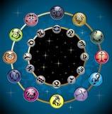 Vector cirkel met de tekens en constell royalty-vrije illustratie