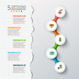 Vector cirlces for infographic with torn paper. Royalty Free Stock Image