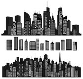 Vector cities silhouettes and elements for design. Stock Photo