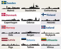 Vector cities skylines silhouettes of Scandinavian and North European countries Royalty Free Stock Photography
