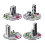 Vector city. Set of  icons of isometric on the city Royalty Free Stock Photography