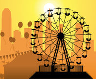 Vector city and amusement park. Vector silhouettes of a city and amusement park with circus and ferris wheel Stock Photo
