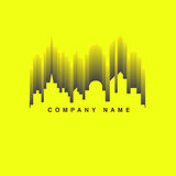 Vector : City building and wave sound Logo ,Music club concept.  Royalty Free Stock Image