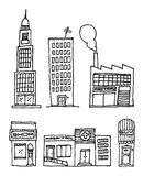 Vector City Buildings / Ink drawing Stock Photos