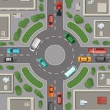 Vector city buildings, roads and cars top view illustration. Road round crossroad, intersection top view street royalty free illustration