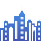 Vector city buildings silhouette, abstract blue background. Stock Images