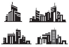 Vector city buildings. Vector city buildings silhouette icons Stock Image