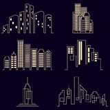 Vector city buildings silhouette icons Stock Photo