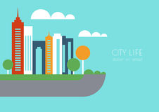 Vector city buildings and trees silhouette, abstract flat backgr Royalty Free Stock Images