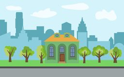 Vector city with cartoon house and green trees in the sunny day. Summer urban landscape. Street view with cityscape on a background Stock Photography