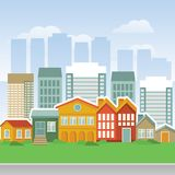 Vector city with cartoon houses and buidings stock illustration